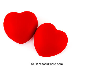 A two red heart isolated on white background