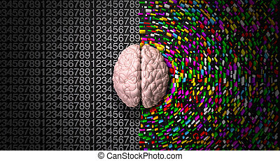 A typical brain with the left side depicting an analytical,...