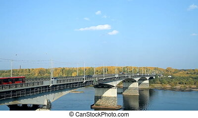 A typical bridge in Russia over the river