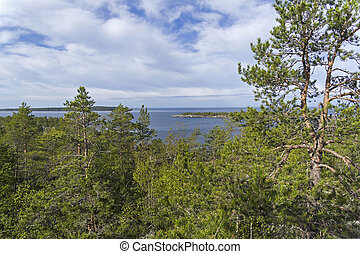 A typical landscape on the northern shores of Lake Ladoga. Karelia, Russia.