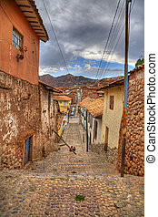 A typical old street in central part of Cusco, Peru. HDR image