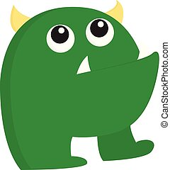 A ugly green monster vector or color illustration