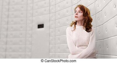 a, ung kvinna, in, a, tvångströja