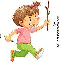 a, unge, spring, med, käpp, på, hand