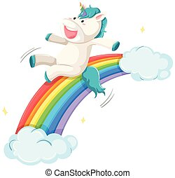 A unicorn on rainbow