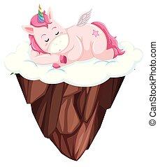A unicorn sleeping on sky