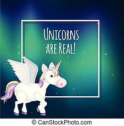 A Unicorn Template on Aurora Background