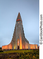 A unique Hallgrimskirkja church in the heart of Reykjavik, Iceland at dusk