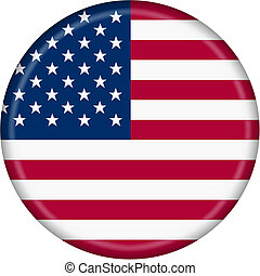 United States flag button illustration with clipping path