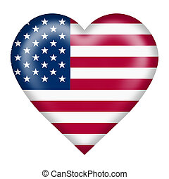 United States flag heart button isolated on white with clipping path