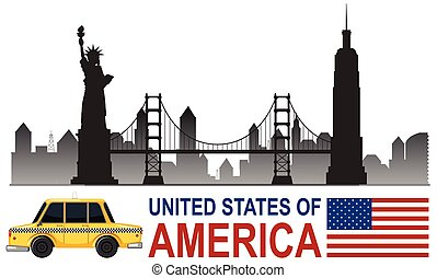 A united states of america tourist attraction illustration