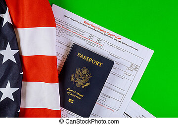 A United States voter registration application with United States Passports on of American Flag