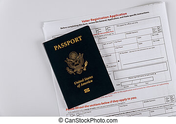 A United States voter registration application with United States Passports