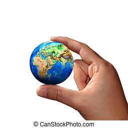a, universo, em, mãos humanas