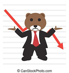 a, urso, desgaste, terno negócio, frente, bearish, mercado conservado estoque, gráfico