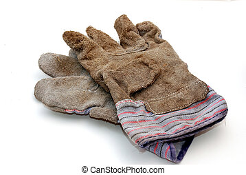 work gloves - a used pair of work gloves