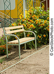 A vacant tree bench and bright blooming sunflowers on the background of the house behind.