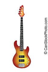 a, vacker, röd, elektrisk gitarr, på