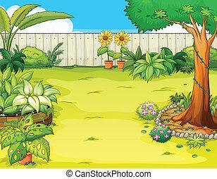 a, vacker, trädgård