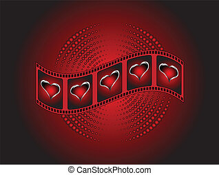 A valentines Background with red and silver hearts on a film strip