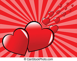 A valentines day vector illustration with two red hearts