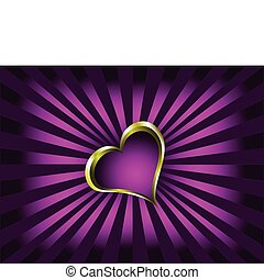 A valentines vector illustration with a gold heart with room for text on a deep purple background