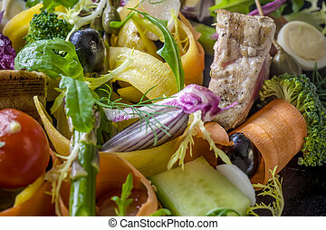 Avariety of fresh and blanched seasonal vegetables with grilled tuna,quaill egg,