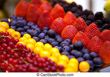A variety of fresh berries in stock