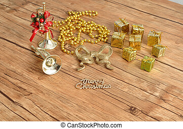 A variety of golden Christmas decorations