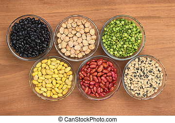 A variety of legumes (black beans, chickpeas, slit peas, canary beans, kidney beans and black-eyed peas) in glass bowl photographed on wood from above