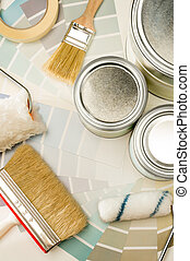 A variety of painting supplies