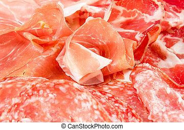 A variety of processed cold meat products