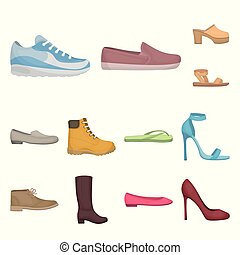 A variety of shoes cartoon icons in set collection for ...