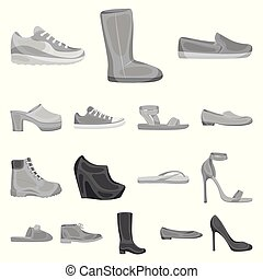 A variety of shoes monochrome icons in set collection for...