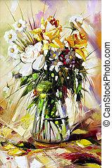 a, vaso, com, a, flores, desenhado, por, óleo, ligado, um, lona