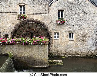 a, vatten hjul, in, bayeux