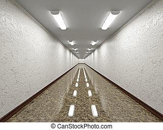 a, vazio, longo, corredor