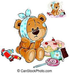 a, vecteur, dent douce, illustration, ours, maintenant, teddy, bonbons, toothache, mangé, il, lot, brun