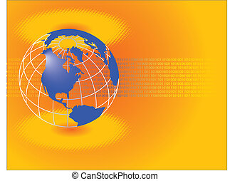 a corporate global theme. - A vector binary background with...