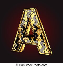 a vector black letter with gold