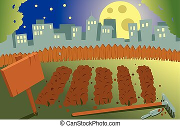 vegetable garden on a city by night