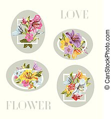 A Vector collection frame of Flower