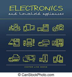 A vector collection of electronics and home appliance icons and line illustrations