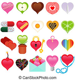 A vector collection of Valentine - colorful set of heart ...