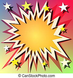 A Vector Comic Book Explosion Background with Stars