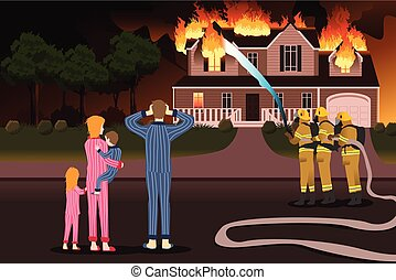 Firemen Putting Out Fires of a Burning Home - A vector ...