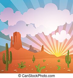 A Vector Desert Landscape with Mountains and Cactus