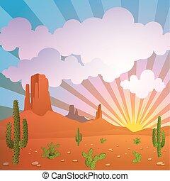 Desert Landscape - A Vector Desert Landscape with Mountains...