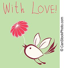 A vector greeting card of a flying bird with a flower
