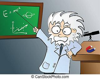 A vector illustration featuring a Physics teacher in class